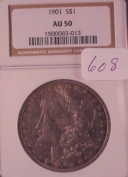 608: 1901 Morgan Silver Dollar-AU50