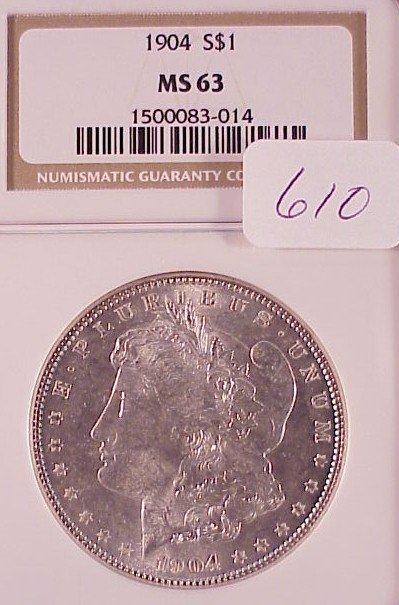 610: 1904 Morgan Silver Dollar-MS63