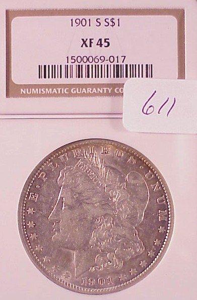 611: 1901-S Morgan Silver Dollar-XF-45