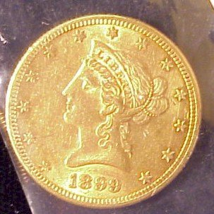 612: 1899-S $10 Liberty Gold Coin-XF
