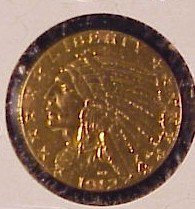 614: 1912 $5 Indian Head Gold Coin-XF