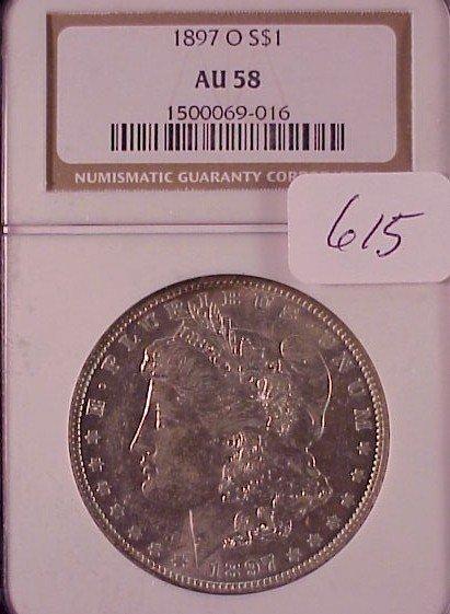 615: 1897-O Morgan Silver Dollar-AU 58