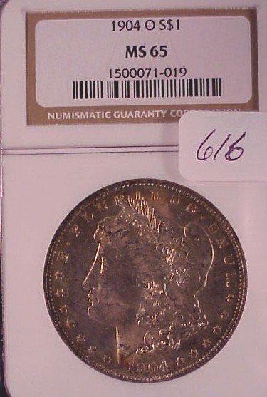 616: 1904-O Morgan Silver Dollar-MS65