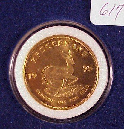 617: 1975 South African Gold Krugerrand-1 oz Gold
