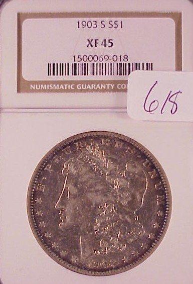 618: 1903-S Morgan Silver Dollar-XF45