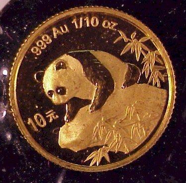 620: 1999 China Panda Gold Coin-1/10 oz Proof