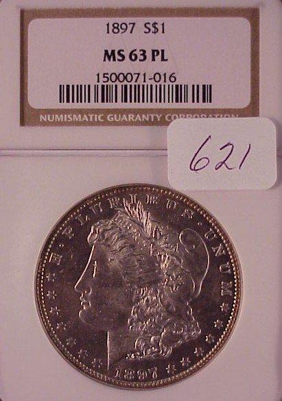 621: 1897 Morgan Silver Dollar-MS 63