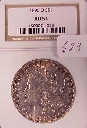 623: 1896-O Morgan Silver Dollar-AU53