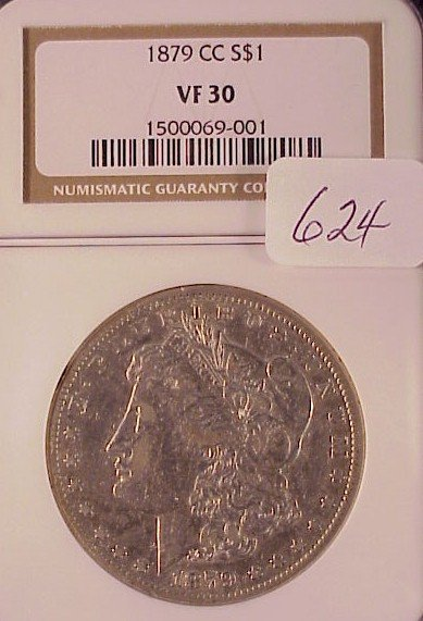 624: 1879 C.C. Morgan Silver Dollar VF30