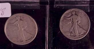 718: 2-Walking Liberty Half Dollars-1920-S/1918-S
