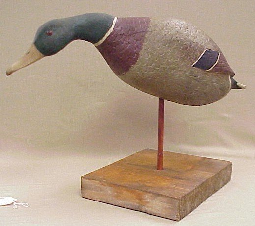 813: 1950's Field Duck Decoy-Signed Clare