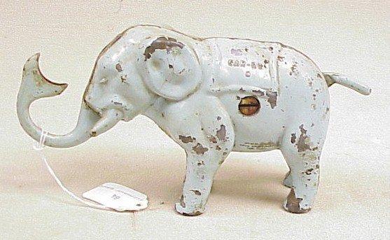 1110: Vintage Cast Iron Elephant Mechanical Bank