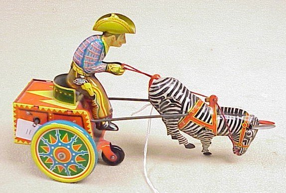 1111: Vintage Tin Wind up-Galop Zebra Cart