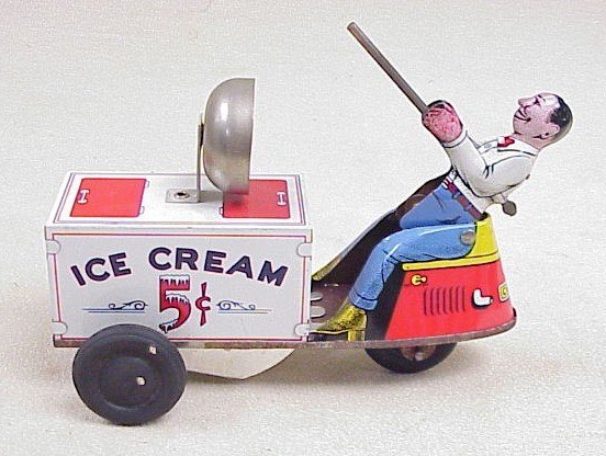 1118: Tin Wind-Up-Ice Cream Trike