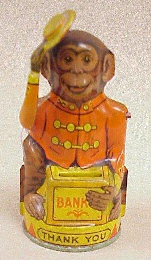 1122: Tin Mechanical Monkey Bank-Chein