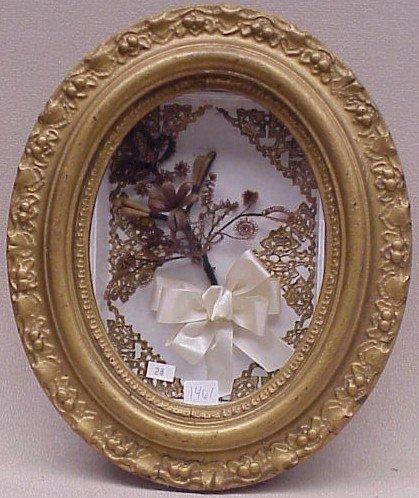 1461: American Folk Art Shadow Box-Hair Art