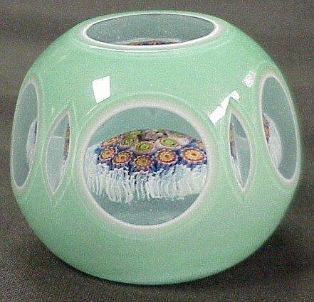 301: Double Overlay Glass Paperweight Millifiori Design