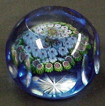 302: Cobalt Cut Glass Paperweight-Millifiori Center