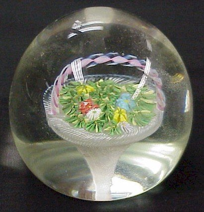 306: Crystal Paperweight with Center Basket