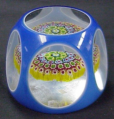 311: Large Double Overlay Glass Paperweight Blue