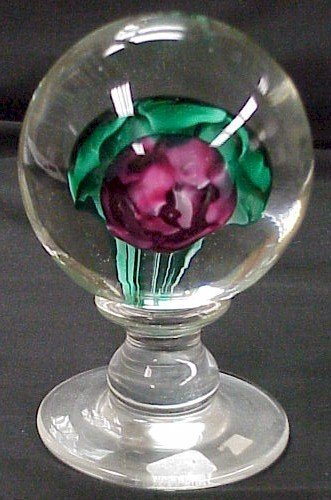 312: Large Crystal Pedestal  Paperweight w/ Rose