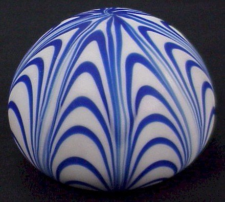 315: Blue Swirl Satin Glass  Paperweight