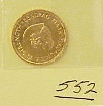 552: 1962 South African 2 Rand Gold Coin 1/4 OZ