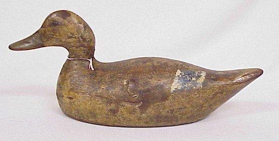 800: Wood Carved Duck Decoy-Signed Evans
