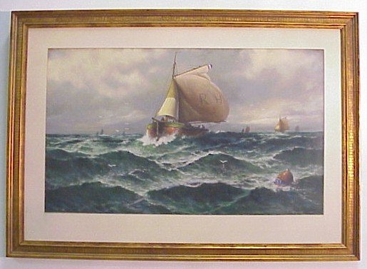 901: Signed Pastel-Nautical Seascape-H. Shopansky