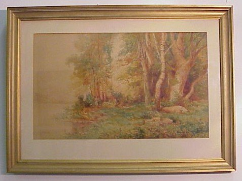 903: Forest Landscape Watercolor-Signed Harold Hall