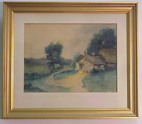 904: Signed Watercolor-Cabin Scene-F. Kershaw 1909
