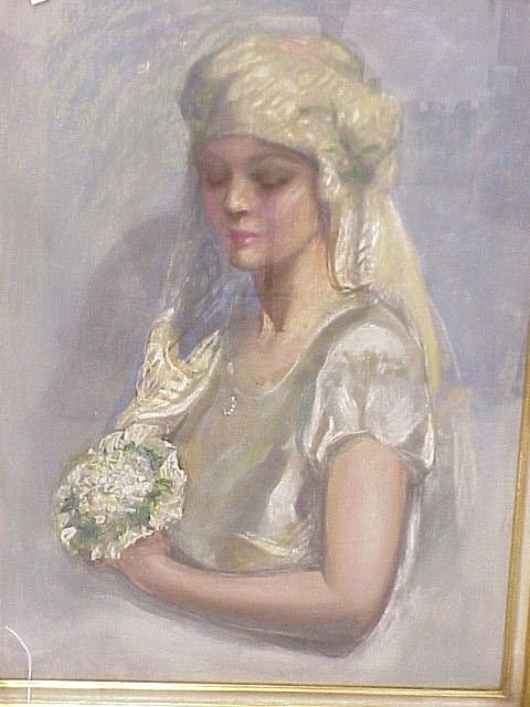 980: Unsigned Bride Portrait Pastel-Attributed Spicuzza