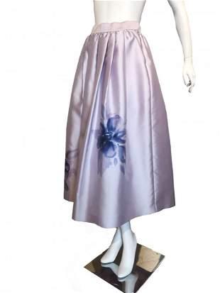 St. John Lavender Satin Watercolor Floral Full Skirt