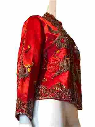 1960s Red Silk Hong Kong Beaded Jacket with Dragons