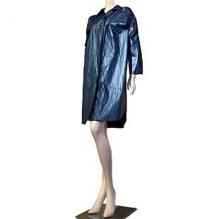 1980s Nina Ricci Steel Blue Raincoat with Shoulder Pads