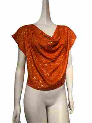1980s Orange Silk Cropped Sequin Blouse w/ Draped Neck
