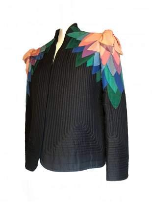 1980s Mollie Parnis Art-To-Wear Petal Shoulder Jacket