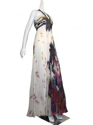 Jovani Silk Crepe Halter Gown with Jeweled Neckline