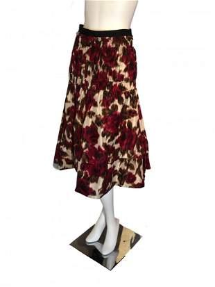 Derek Lam Ikat Rose Print Full Skirt w/ Corded Tiers