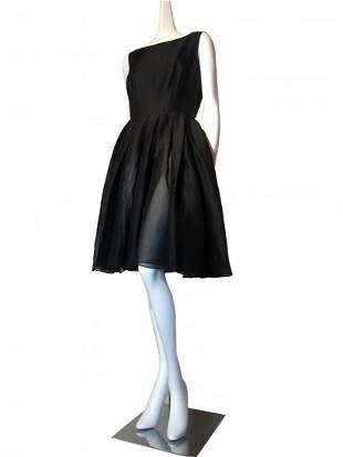 Donna Karan DKNY Black Silk Cocktail Dress w/ Pleats