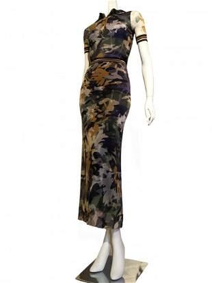 Fuzzi Camouflage 2-Piece Skirt & Top Ensemble