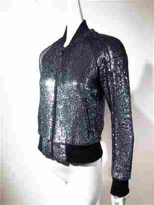 Dolce & Gabbana Gunmetal Sequined Jacket w/ Leopard