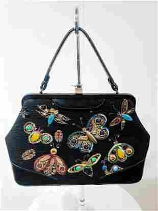 1960s Soure Black Canvas Handbag w/ Fab Insect Design