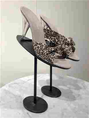 Nat Kaplan Lucite Leopard Print Leather Heels