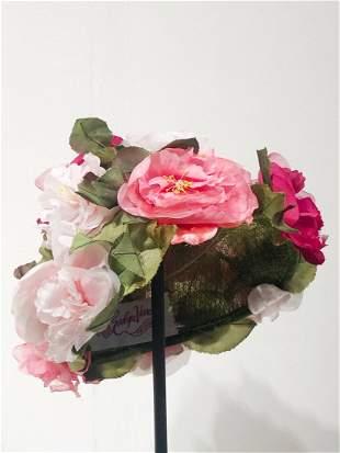 1950s Evelyn Varon Floral Red Pink Rose Hat