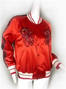 Alexander McQueen Mens Red Satin Skull Baseball Jacket