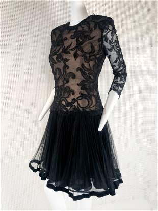 980 Travilla Black Lace Cocktail Dress