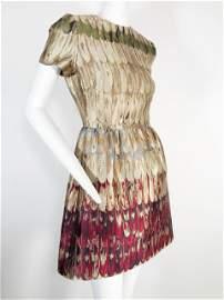 "Valentino ""Feather"" Print Brocade Mini Dress"