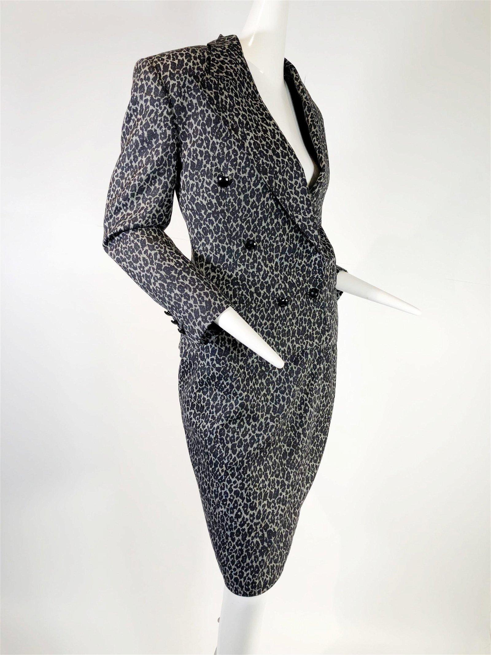 1980 Gianni Versace Grey Leopard Wool Skirt Suit