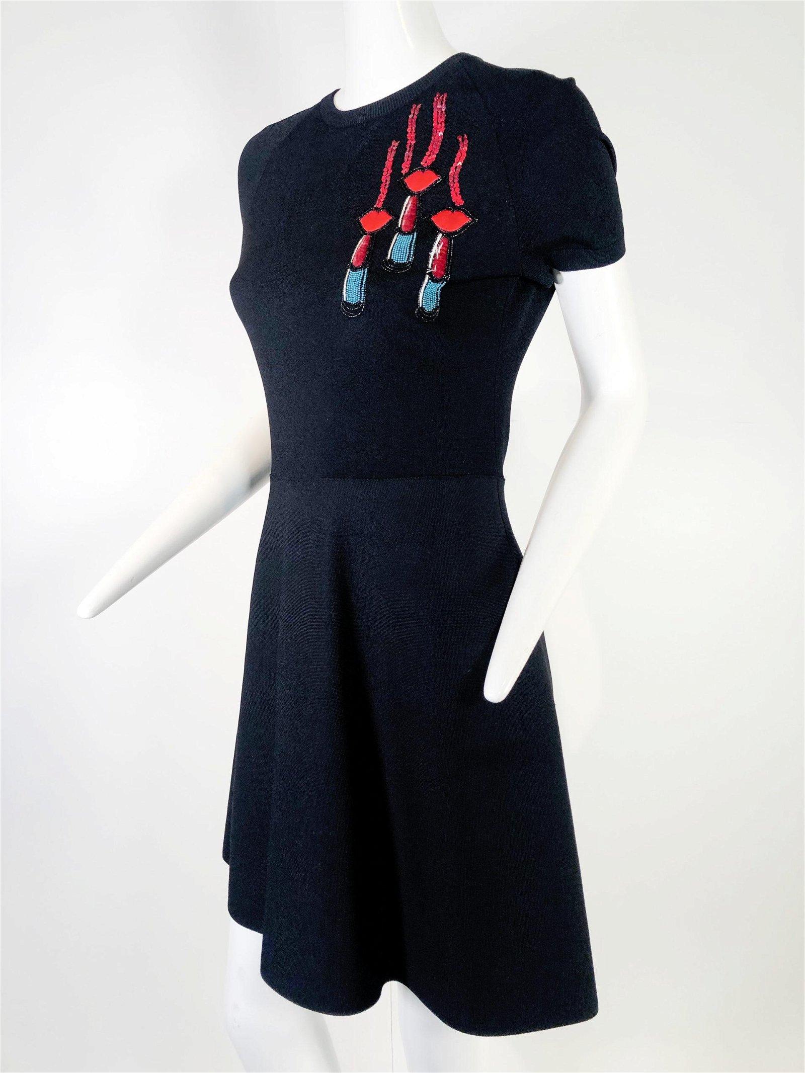 Valentino Black Knit Mini Dress w/ Embellished Lips
